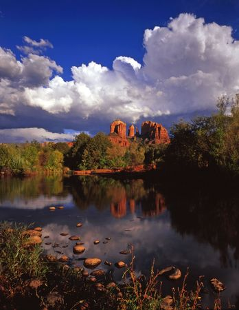 Cathedral Rock and Oak Creek near Sedona, Arizona. Stock Photo - 814678