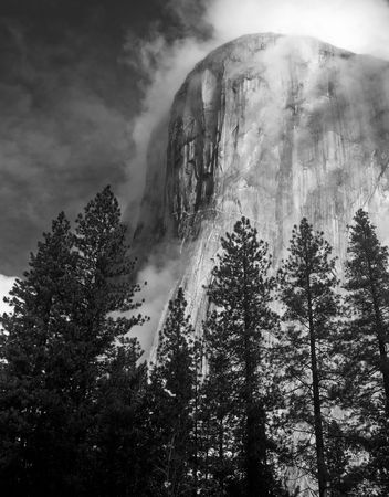 The El Capitan formation in Yosemite National Park, California, photographed in the fog. Stock Photo