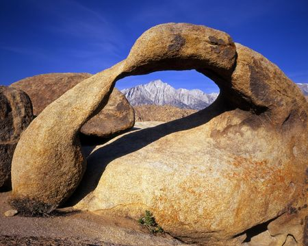 Galen Arch and Lone Pine Peak located in the Alabama Hills section of the Inyo National Forest, California.