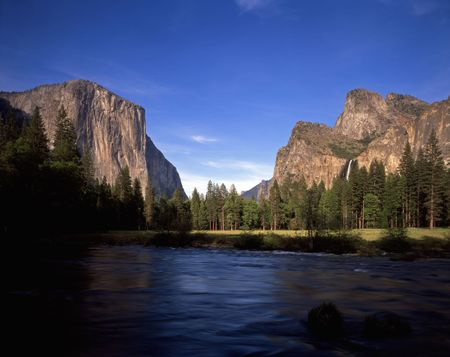 A view of Yosemite Valley, the Merced River, El Capitan and Bridalveil Falls in Yosemite National Park, California.