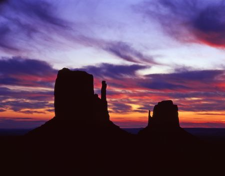 The Mitten Buttes in Monument Valley Navajo Tribal Park, Arizona, photograpged at sunrise. Stock Photo