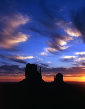 The Mitten Buttes in Monument Valley Navajo Tribal Park, Arizona.