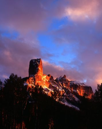 Chimney Peak and Courthouse Mountain in the Uncompahgre National Forest, Colorado. Stock Photo