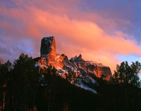 Chimney Peak and Courthouse Mountain in the Uncompahgre National Forest, Colorado. Stock Photo - 2131268