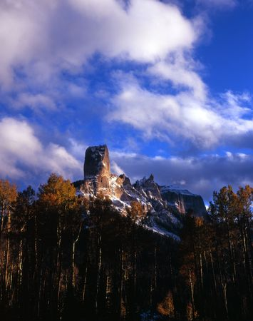 Chimney Peak and Courthouse Mountain in the Uncompahgre National Forest, Colorado. Stock Photo - 2131269