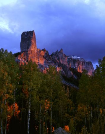 Chimney Peak and Courthouse Mountain in the Uncompahgre National Forest, Colorado. Stock Photo - 2153989