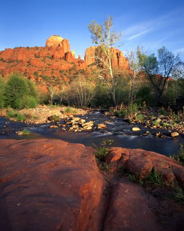 rock creek: Cathedral Rock and Oak Creek in Sedona, Arizona.
