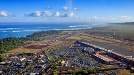 Helicopter view of the Kahului Airport, Maui, USA