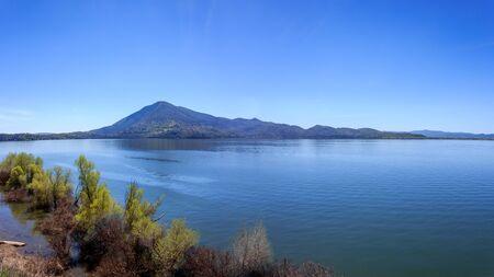 A multi-shot panorama of Mt Konocti overlooking Clear Lake, California, USA