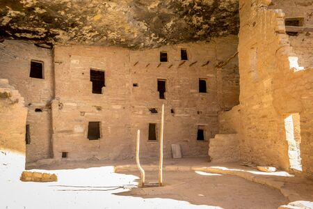 A close up view of the construction of Spruce Tree House dwellings in Mesa Verde Nation Park, Colorado, USA