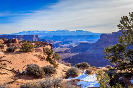 Looking back at the La Sal Mountains from Canyonlands National Park, Utah, USA