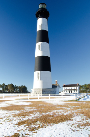 Bodie Island Lighthouse in Snow Stock Photo - 104732528