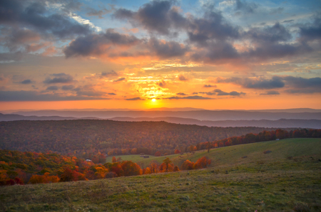 Autumn Sunrise over Highland County in Virginia Stock Photo