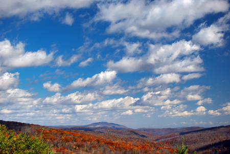 Clouds above an Autumn Scene in Highland County Virginia Stock Photo - 106960895