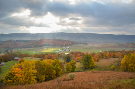 Sunbeams over Small Town in Highland County, Virginia Stock Photo - 106228656