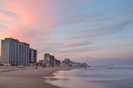 Hotels at sunset along the Virginia Beach oceanfront.