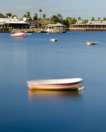 Boats drifting in Lake Sumter, The Villages, Florida. Editorial