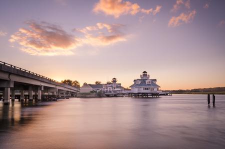 Sunset along the waterfront in Smithfield, Virginia. Reklamní fotografie - 110676360