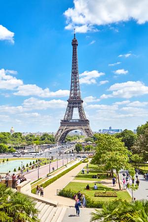 Paris, France - June 19, 2015: Eiffel Tower on a summer sunny day. Trocadero Gardens