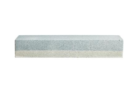 Rectangular double layer sharpening stone. Grindstone or whetstone sharpener, isolated on white background. Kitchen utensils