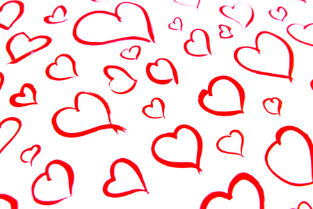 Image of red hearts painted on white sheet of paper. Love concept Zdjęcie Seryjne