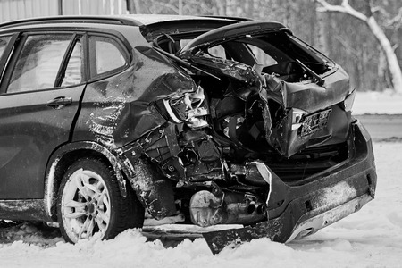 car crash accident on the winter road