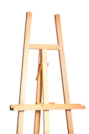 Wooden easel for artists. Stand for a picture. On white background, isolated. Art, creativity, hobby, job and creative occupation concept
