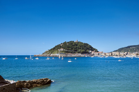 Sea harbor in San Sebastian or Donostia, Basque country, Spain. View of mount  Urgull