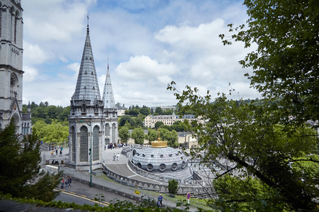Lourdes, France: The Sanctuary of Our Lady of Lourdes is one of the largest pilgrimage centers in Europe Stock Photo
