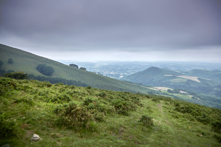 French countryside landscape in the Pyrenees mountains in Basque Country, France Stock Photo