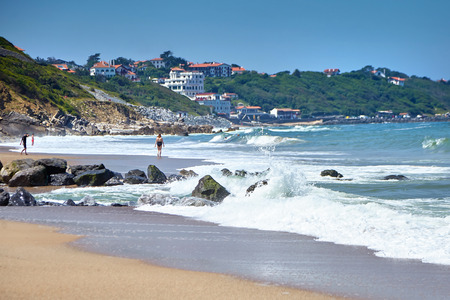 Sandy beach on Atlantic ocean coast. Bidart is a coastal small town in the Pays Basque, South west France