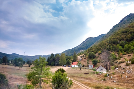Countryside landscape in Montenegro. House in mountain Stock Photo