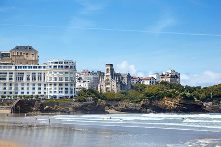 Biarritz, France. Sandy beach - La Grande Plage. French resort town on the Atlantic coast Stock Photo - 124236829