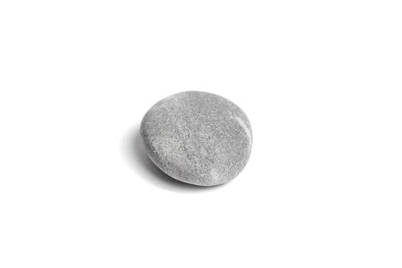 Single grey pebble isolated on white background. Smooth gray sea stone