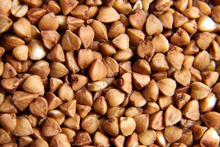 Buckwheat grains. Grechka. Dry brown kernel as background. Selective focus