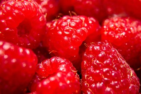 Raspberry background, red ripe juicy berries, raw food, closeup, selective focus Stock Photo