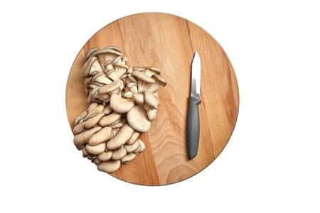 Oyster mushrooms, knife, wooden cutting board isolated on white background. Group of uncooked edible mushrooms, food ingredient, top view Standard-Bild