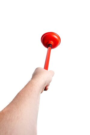 Hand and rubber plunger with red handle, isolated on white background. Tool for cleaning drain clogs 版權商用圖片