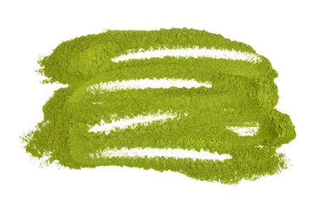 Green wheatgrass or barley grass powder isolated on white background. Top view. Standard-Bild