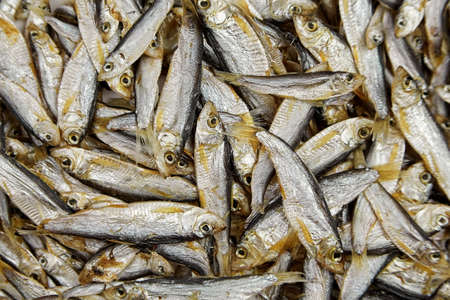 Small salted dried fish texture, top view, food background. Standard-Bild
