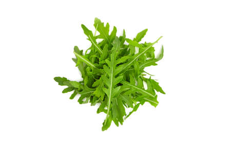 Arugula leaves isolated on white background, top view. Healthy vegan food concept.