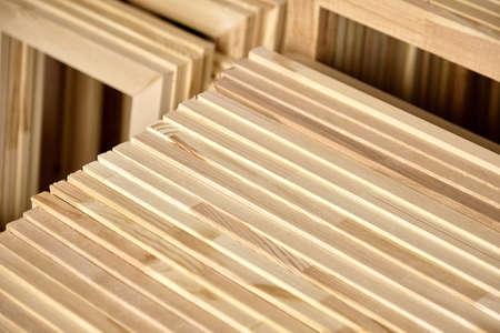 Stretcher bars, stack of wooden frames for canvases. Stacked subframes. Production wrap stretcher bar frames Banco de Imagens