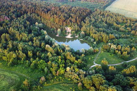 Aerial landscape view, summer forest, fields and lake. European nature.