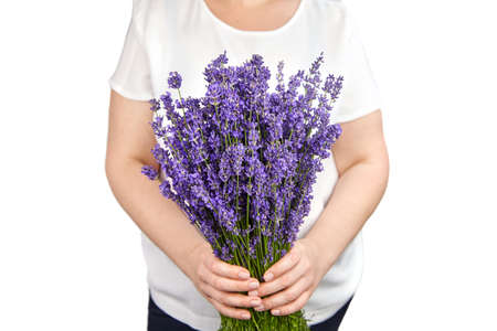 Woman with natural lavender bouquet isolated on white background Archivio Fotografico