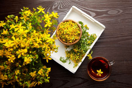 Hypericum perforatum plant flowers buds with herbal drink on wooden table background, flat lay. Alternative medicine.
