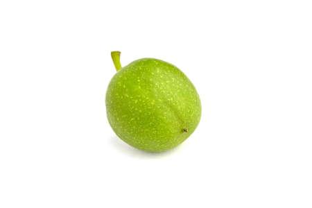 Fresh green walnut fruit isolated on a white background Archivio Fotografico