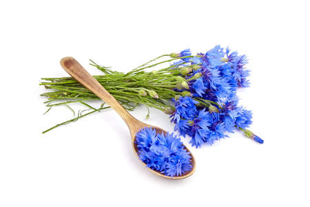 Blue cornflower petals in wooden spoon and fresh flowers bouquet isolated on white background. Herbal medicine. Archivio Fotografico