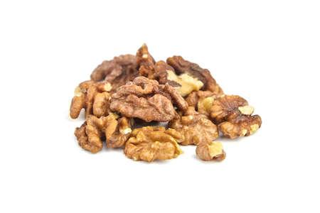 Pile of peeled walnuts isolated on white background Archivio Fotografico