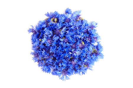 Blue fresh cornflowers heap isolated on white background, top view. Medicinal herb. Stock fotó