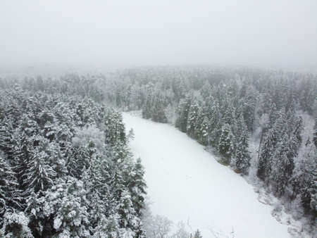 Aerial view of frozen river in winter forest with snowy trees. Winter nature, aerial landscape with river and trees covered white snow
